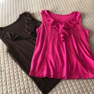 🎉 Lot of 2 Chico's Ruffle Tanks